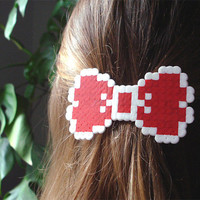 8bit Bow Barrette. White & Red, Pink, Burgundy or Multicolor. Choose your Style.