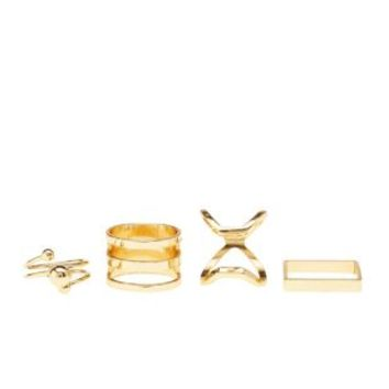 Caged Stackable Rings - 4 Pack by Charlotte Russe - Gold