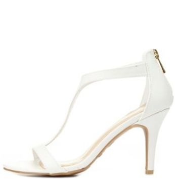 Bamboo T-Strap Single Sole Heels by Charlotte Russe - White