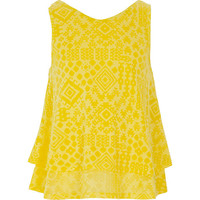 River Island Girls yellow aztec print double layer top