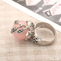 Pink Rose Quartz Orb and Leaf Branch, Adjustable Ring
