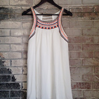 Beach Front Embroidered Dress - White /