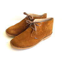 Desert boots unisex genuine leather winter shoes Tobacco color