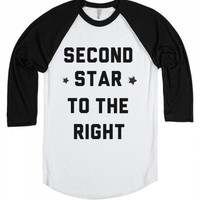 Second star to the right-Unisex White/Black T-Shirt