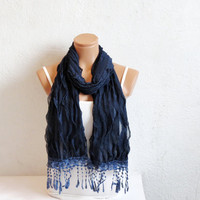 Flamenco Fabric Fringed Scarf Navy Blue. indigo, Prussian, Dark Blue Scarves. Womens Accessories. Head band, Bandana, Wrap Multipurpose...
