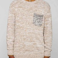 CPO Marled Contrast Pocket Crew-Neck Sweater- Olive