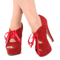 Miss Me Shoes Alisa-3 | Sexy Red Faux Suede Platform Peep Toe Oxford Shoes with Lace-up Front and 5 inch Heel