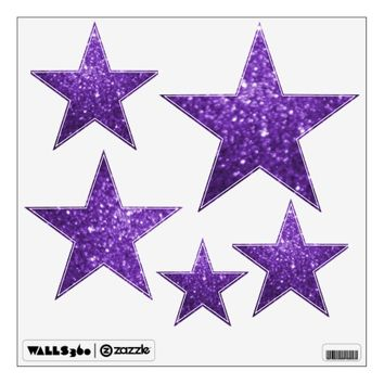 Purple Glittery Look Stars: Wall Decals