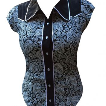 """Women's """"Skull Dolly"""" Western Top by Switchblade Stiletto"""
