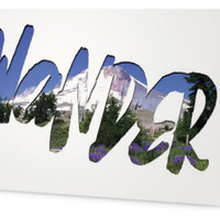 Wander Mt Hood Card Blank, Card for skier hiker, Pacific Crest Trail Inspirational Resolution 2015, typography card for him for her for teen