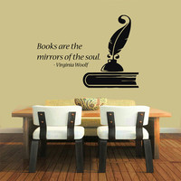 Wall Decals Quotes Books Are The Mirrors Of The Soul Words Vinyl Decal Sticker Living Room Interior Design Home Decor Art Design Decor KG576