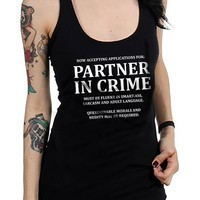 """Women's """"Partner In Crime"""" Racerback Tank by Fifty5 Clothing (Black)"""