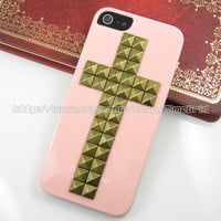Pink Iphone 5 case,Cross Antique Bronze studded iphone case, Flower Rose stud studs Hard Cover Skin Iphone 5 Case