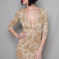 Glittery Floral Jacquard Knit Plunging V-Neck Mini Dress - Taupe