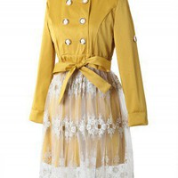 Double Breasted Lace Skirt Dress in Mustard - New Arrivals - Retro, Indie and Unique Fashion