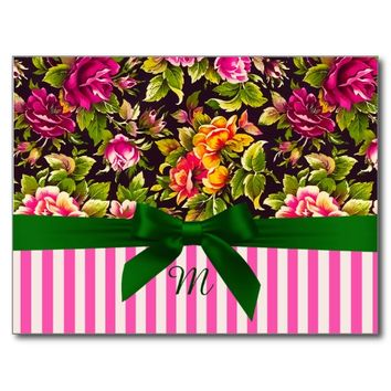 Pretty Rose Floral and Pink Stripes Postcard