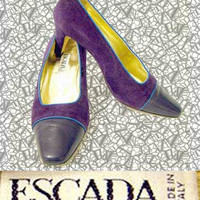 Vintage 80's ESCADA Purple Suede & Leather Pumps