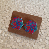 pink and purple hexabloom wood earrings with sterling silver posts