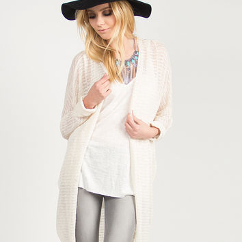 Knit Oversized Cuffed Sleeves Cardigan - Natural /