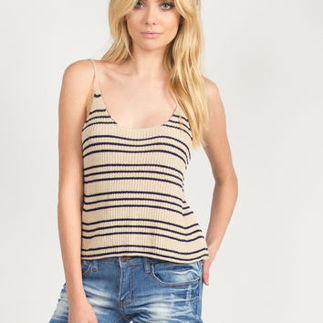 Striped Knitted Tank - Taupe/Navy /