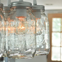 Mason Jar Light Chandelier Lucky Seven Quart by clarksallpurpose