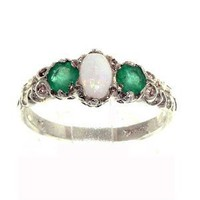 Amazon.com: Sterling Silver Ladies Colourful Fiery Opal & Emerald Ring: Jewelry