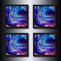 Coasters: Set of 4 Blue Abstract