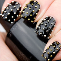 Gold &amp; Silver Metallic Caviar Studs Nail Art - This seasons must have nails.