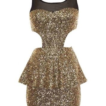 Sequin Cutout Dress - Kely Clothing