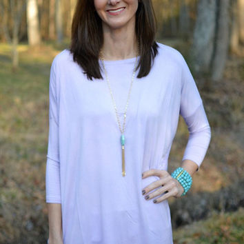 PIKO 3/4 Length Sleeve Top In Lilac