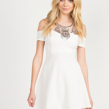 Fit and Flare Off the Shoulder Dress - Ivory - Ivory /