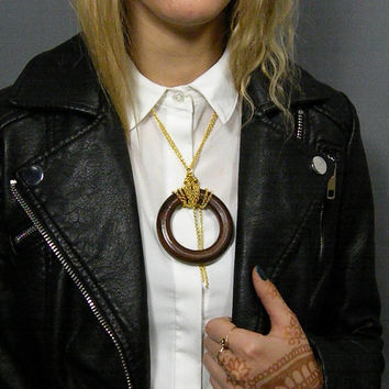 Statement Necklace // Geometric Necklace // Contemporary Necklace Hoop pendant  // Helter Skelter Urban Hipsters Rock and roll Boho
