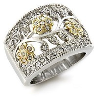 Amazon.com: Two Tone Swarovski Crystal Floral Motif Ring Size-9: Jewelry