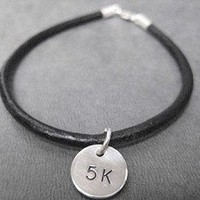 BRACELET - RUN YOUR DISTANCE Leather and Sterling Silver Running Bracelet - RUN, 5K, 10K, 13.1 or 26.2 - Sterling Silver Charms
