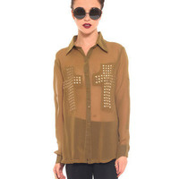 GYPSY WARRIOR - Olive Studded Cross Top
