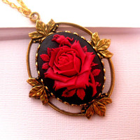 Wicked Black Red Rose Cameo Necklace Set In Gold