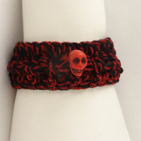 Crochet Bracelet With Skull,   Black and Red