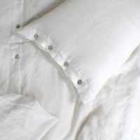 Soft Washed Linen Pillow Cases (set of 2 pieces) with Shell Button