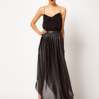 Mango Split Side Glitter Maxi Skirt at asos.com