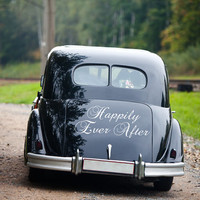 "Vinyl Decals Just Married Sign Vinyl Decal Happily Ever After, Wedding Decal for Vehicle 11"" x 24"""