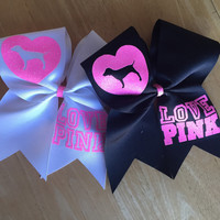 Victoria's Secret pink cheer bow love pink dog heart cheerleading sports hair bow