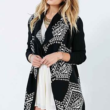 Ecote Drapey Patterned Cardigan- Black & White
