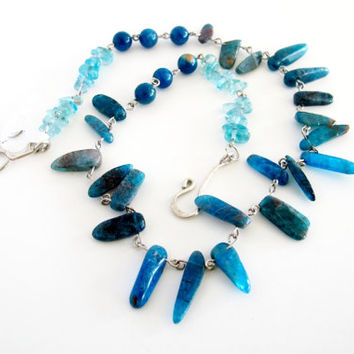 Blue apatite necklace, blue tribal bead strand, bohemian gemstone necklace, gift for her