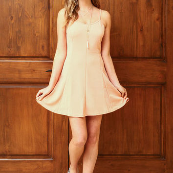 PEACH CREPE FIT AND FLARE DRESS