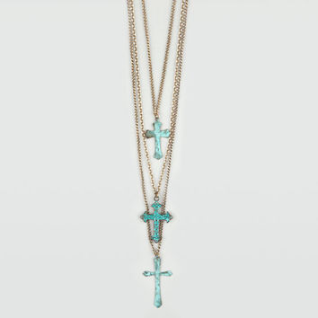 Full Tilt 3 Row Patina Cross Necklace Gold One Size For Women 20564562101