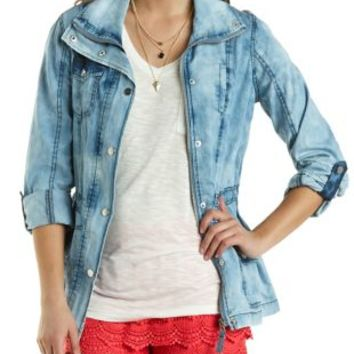 Acid Wash Chambray Anorak Jacket by Charlotte Russe - Lt Blue Combo