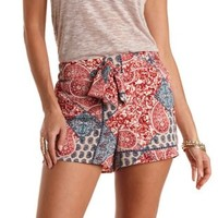 Sash-Belted Paisley Print High-Waisted Shorts - Red Combo