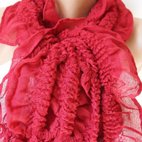 Dark Red, Ruby Ruffle Scarf from %100 coton with tassel