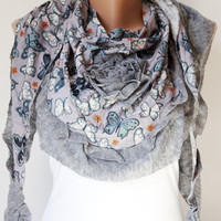 Grey, Butterfly Scarf from %100 coton with flora desing and rose