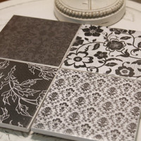 Black and White Damask Coasters, 4X4 Tile Coasters With Cork Bottom